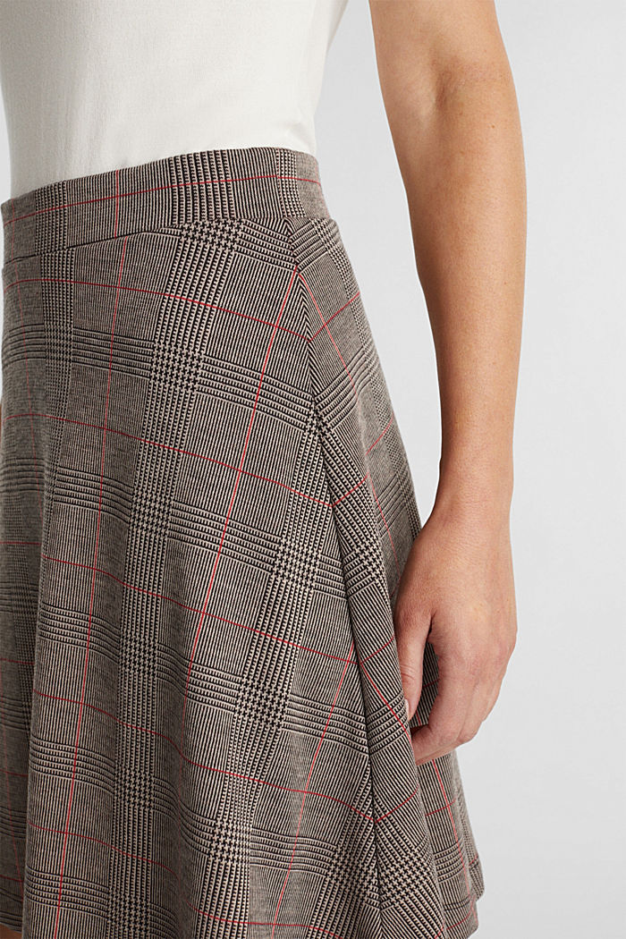 Jersey skirt with a Prince of Wales check pattern, RED, detail image number 2