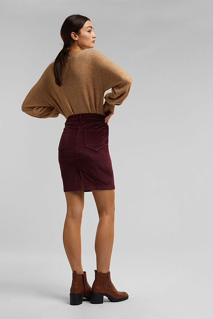 Corduroy mini skirt, BORDEAUX RED, detail image number 3
