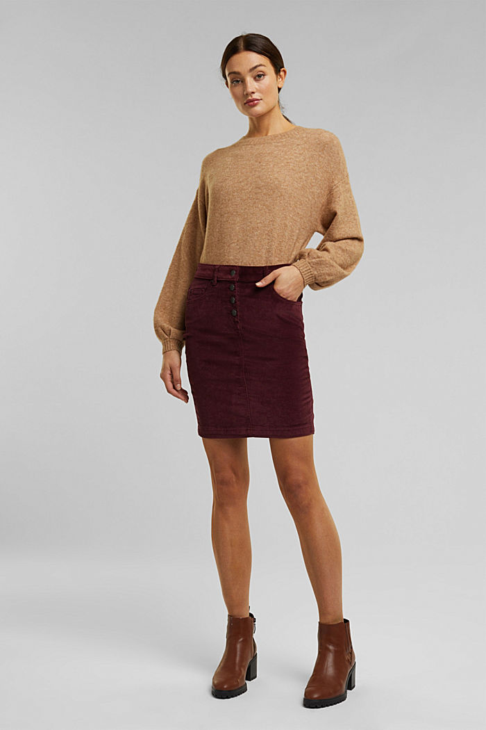 Corduroy mini skirt, BORDEAUX RED, detail image number 1