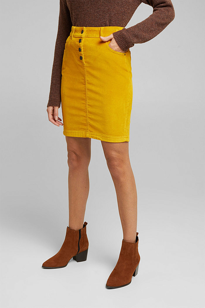Corduroy mini skirt, BRASS YELLOW, detail image number 0