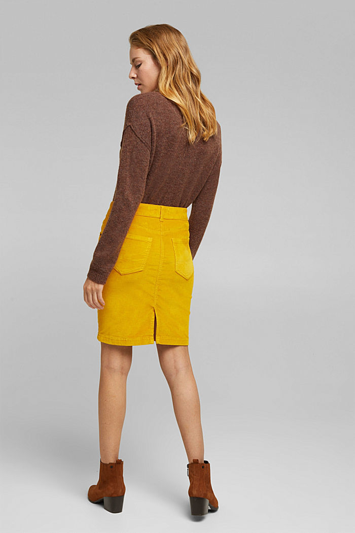 Corduroy mini skirt, BRASS YELLOW, detail image number 3