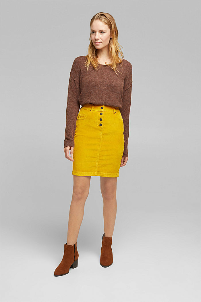Corduroy mini skirt, BRASS YELLOW, detail image number 1