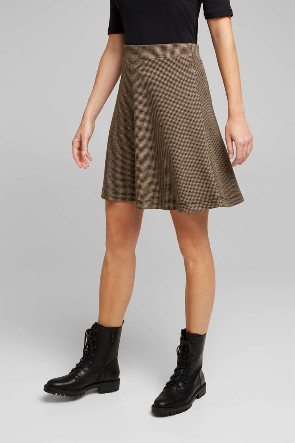Esprit - Jersey skirt with a houndstooth pattern