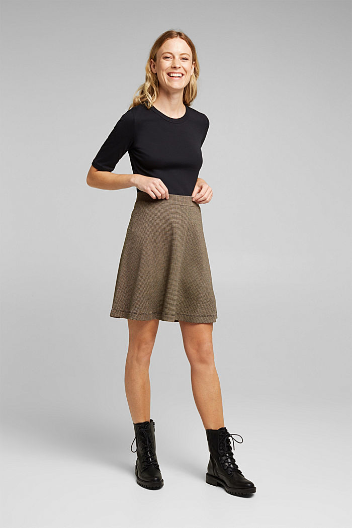 Jersey skirt with a houndstooth pattern, CAMEL, detail image number 1