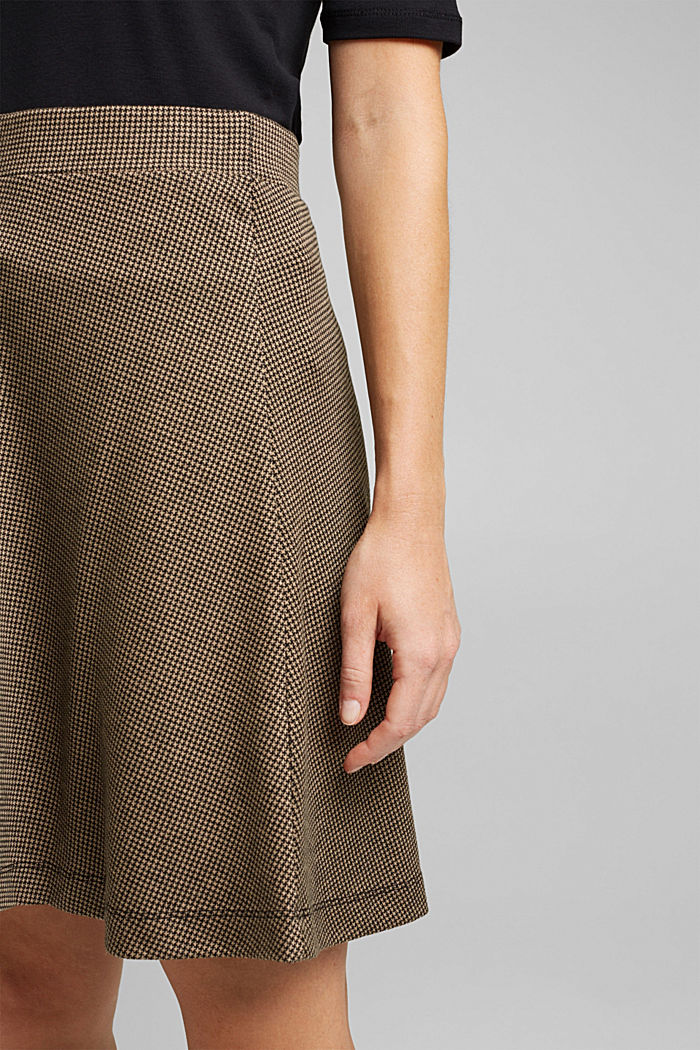 Jersey skirt with a houndstooth pattern, CAMEL, detail image number 2