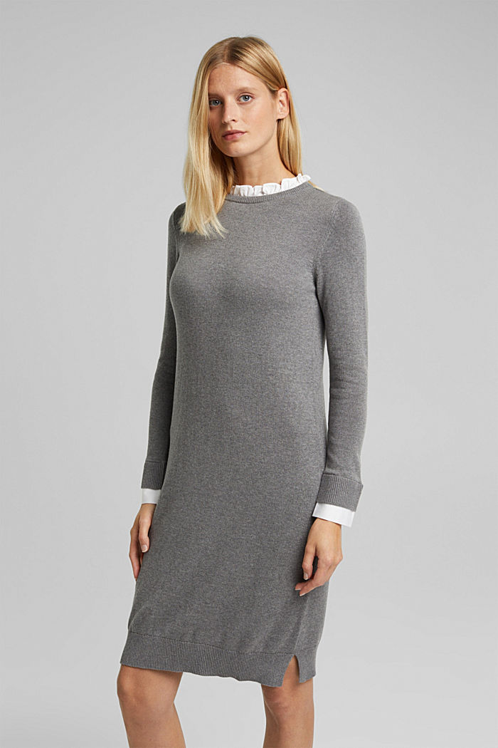 Layered dress with organic cotton, GUNMETAL, detail image number 0