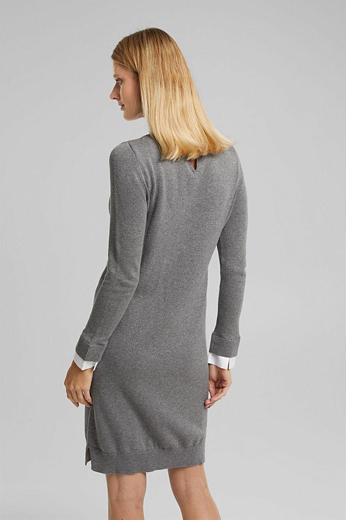 Layered dress with organic cotton, GUNMETAL, detail image number 2
