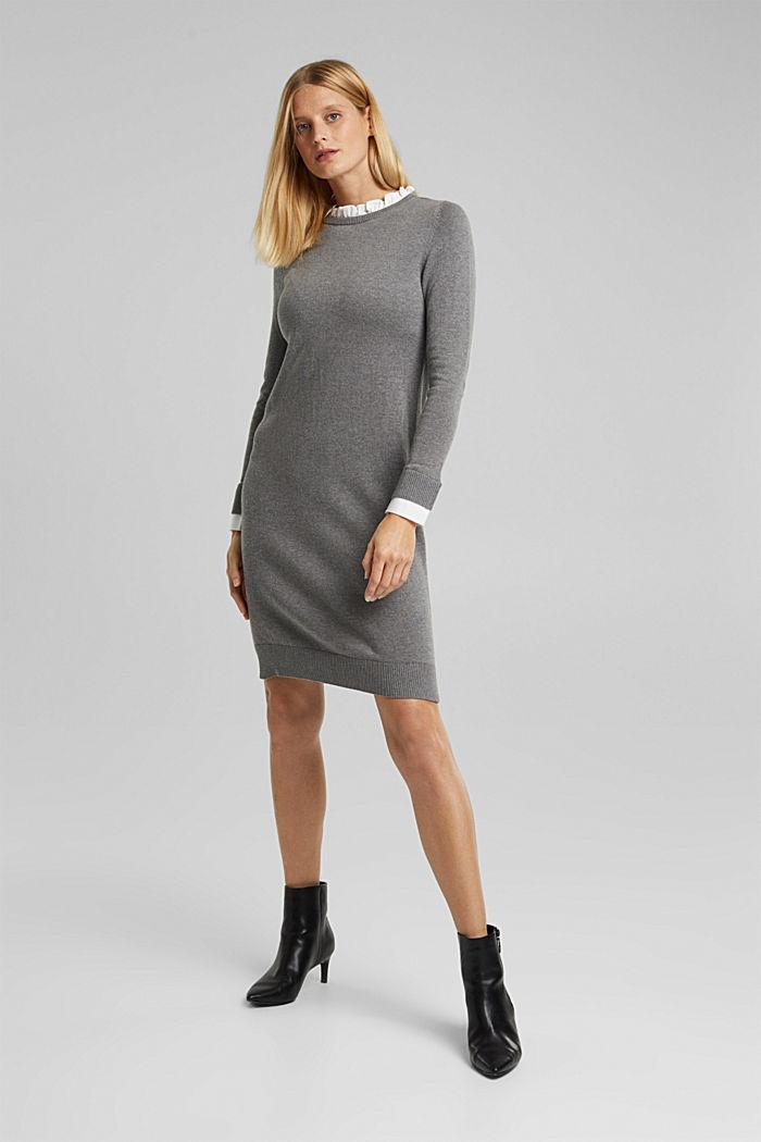 Layered dress with organic cotton, GUNMETAL, detail image number 5