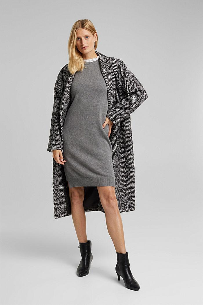 Layered dress with organic cotton, GUNMETAL, detail image number 1