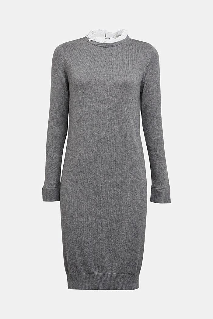 Layered dress with organic cotton, GUNMETAL, detail image number 8