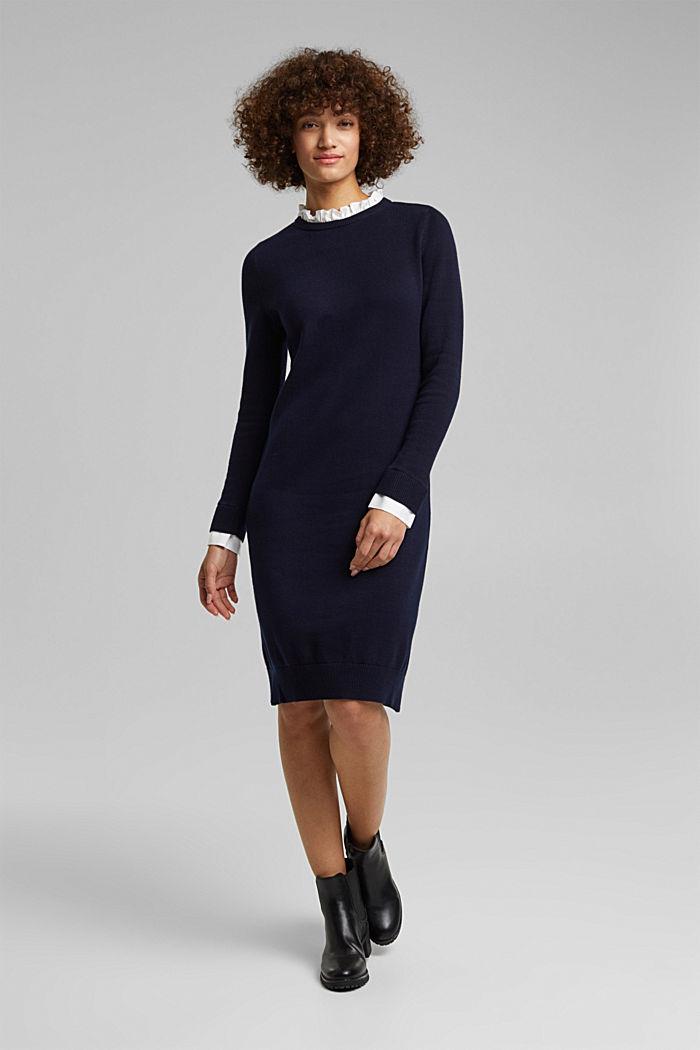 Vestido con efecto de capas y algodón ecológico, NAVY, detail image number 0