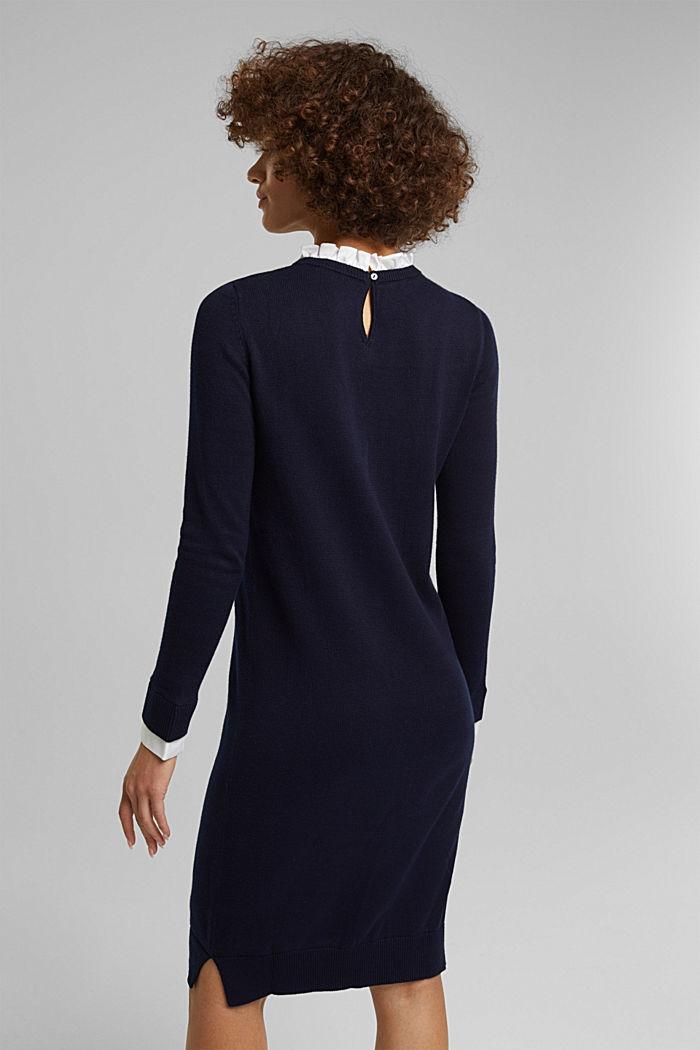 Vestido con efecto de capas y algodón ecológico, NAVY, detail image number 2