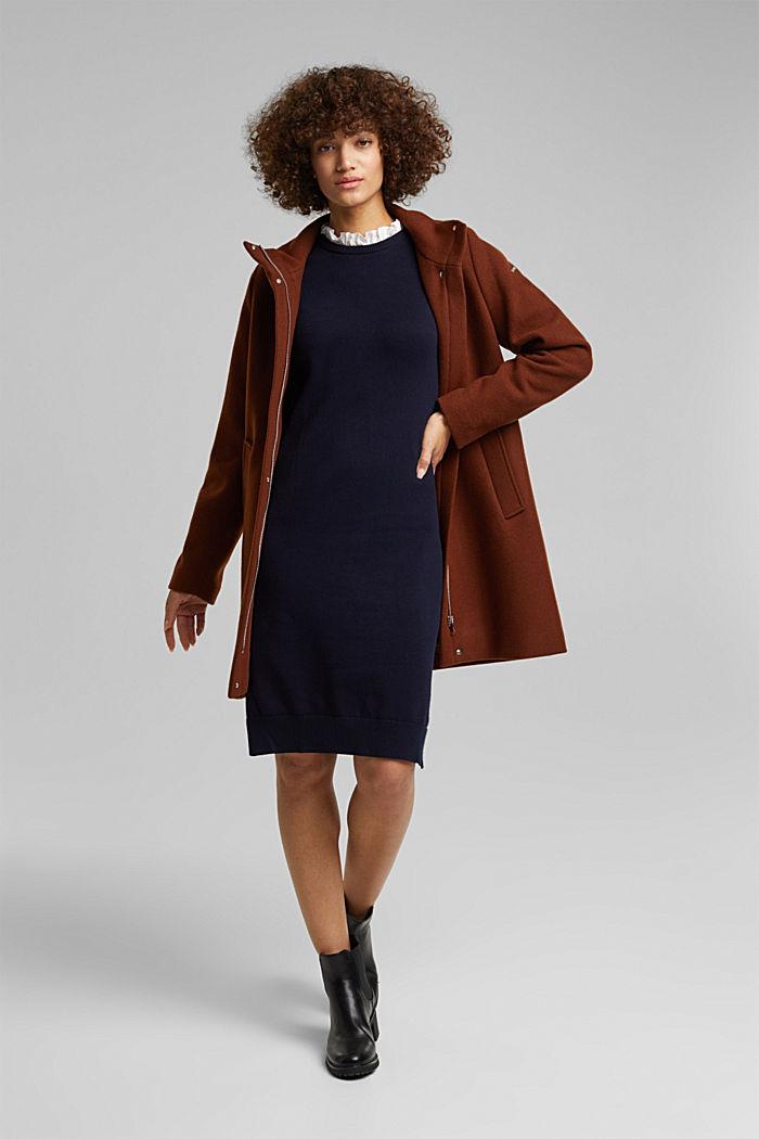 Vestido con efecto de capas y algodón ecológico, NAVY, detail image number 1