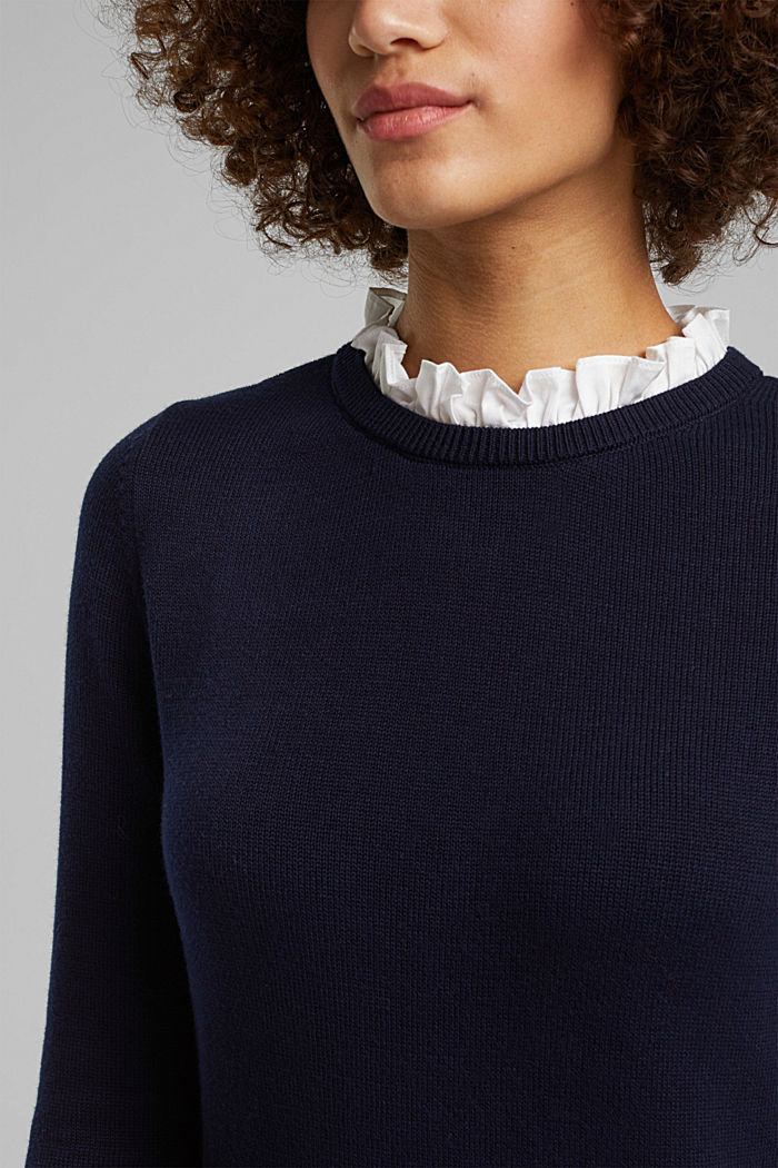 Vestido con efecto de capas y algodón ecológico, NAVY, detail image number 3