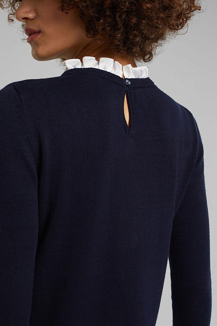 Vestido con efecto de capas y algodón ecológico, NAVY, detail image number 5