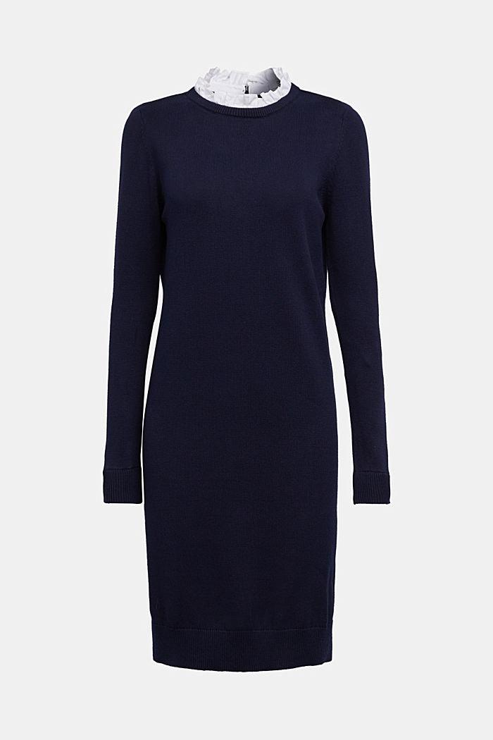 Vestido con efecto de capas y algodón ecológico, NAVY, detail image number 6