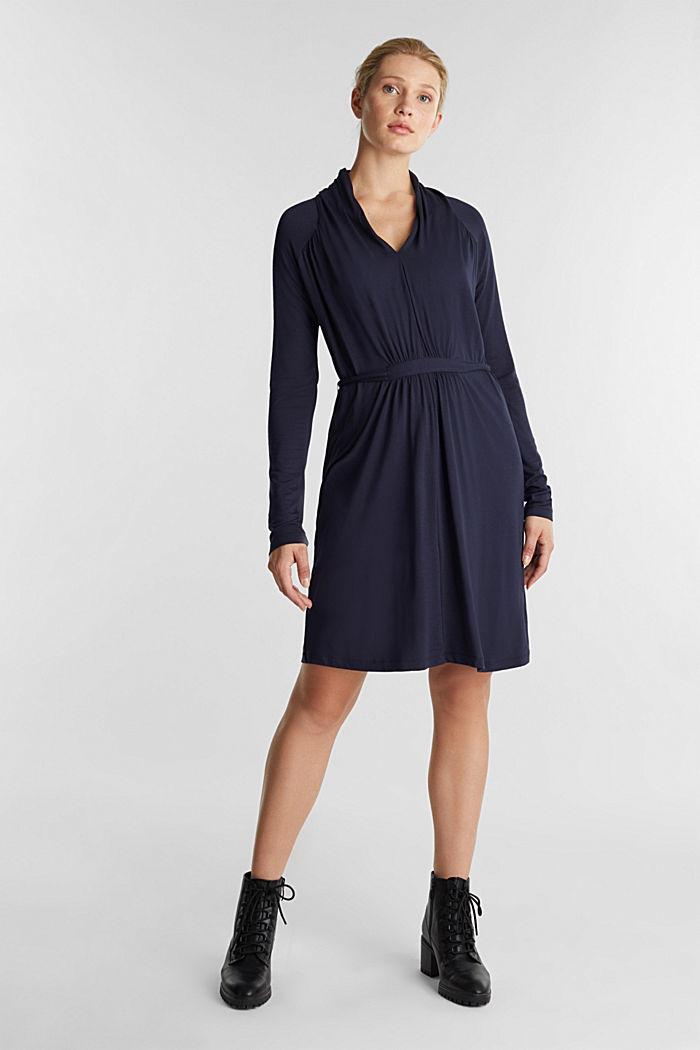 Draped jersey dress, NAVY, detail image number 1