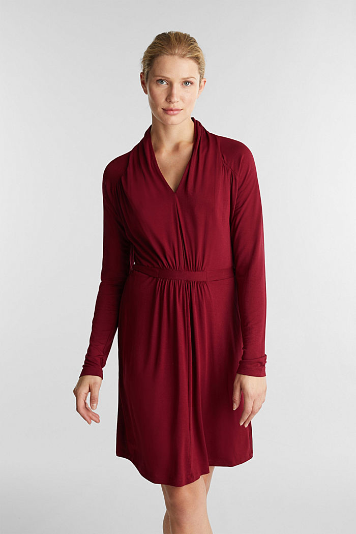Draped jersey dress, BORDEAUX RED, detail image number 0