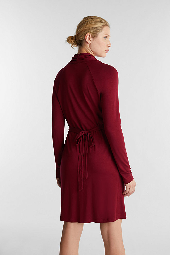 Draped jersey dress, BORDEAUX RED, detail image number 2