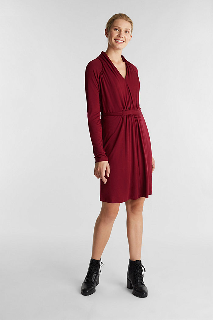 Draped jersey dress, BORDEAUX RED, detail image number 1