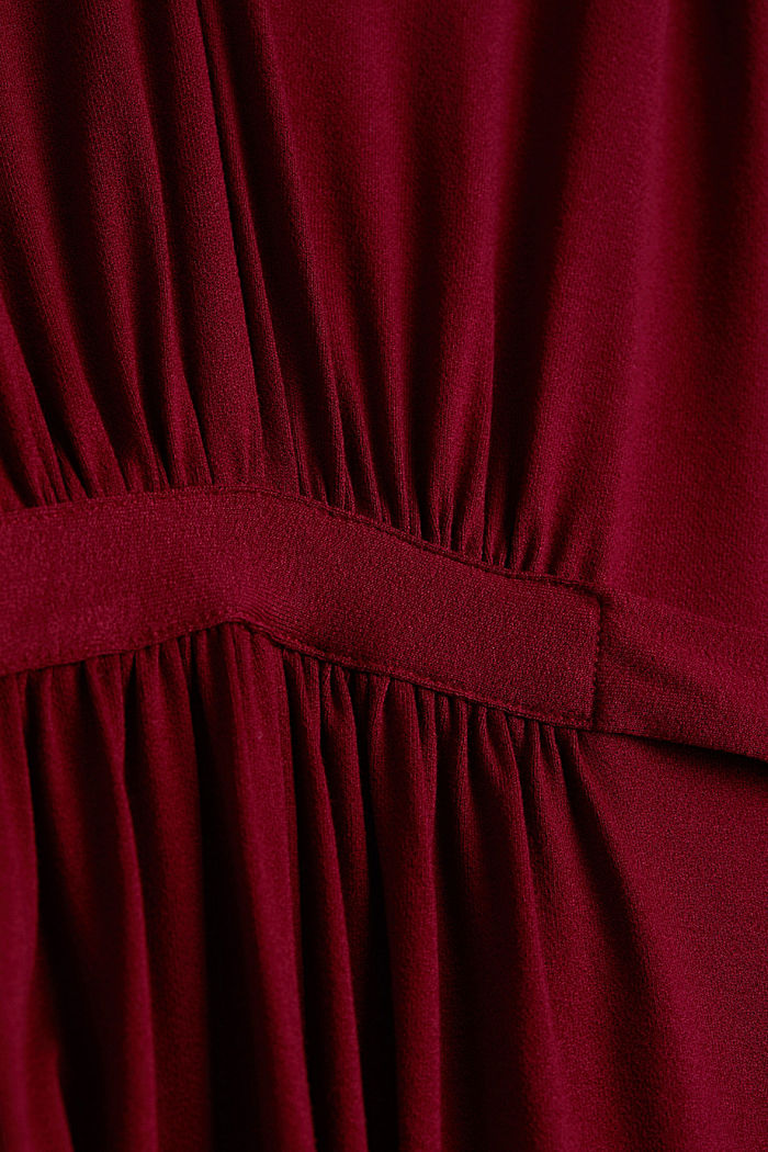 Draped jersey dress, BORDEAUX RED, detail image number 4