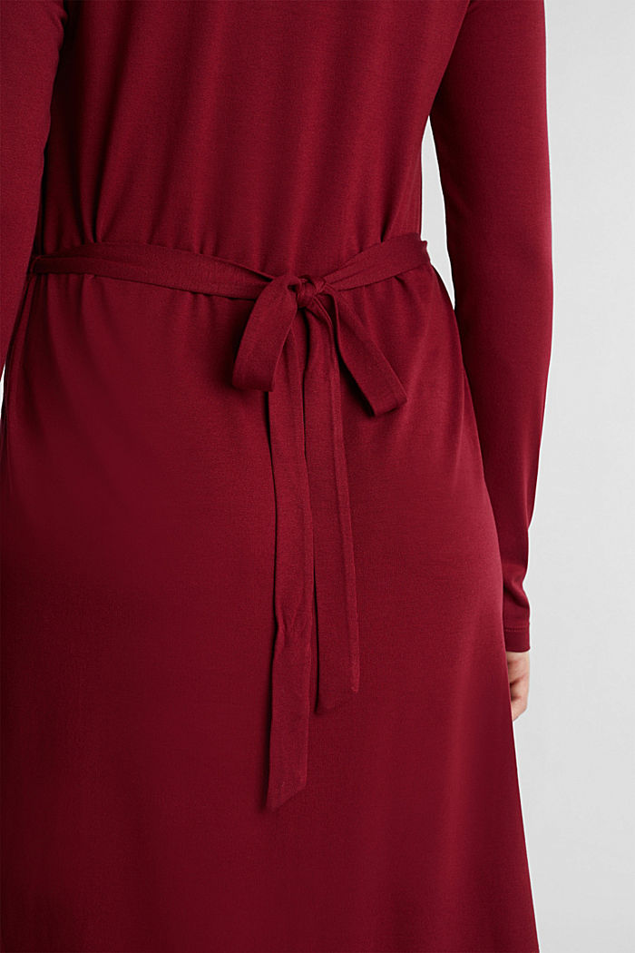 Draped jersey dress, BORDEAUX RED, detail image number 5