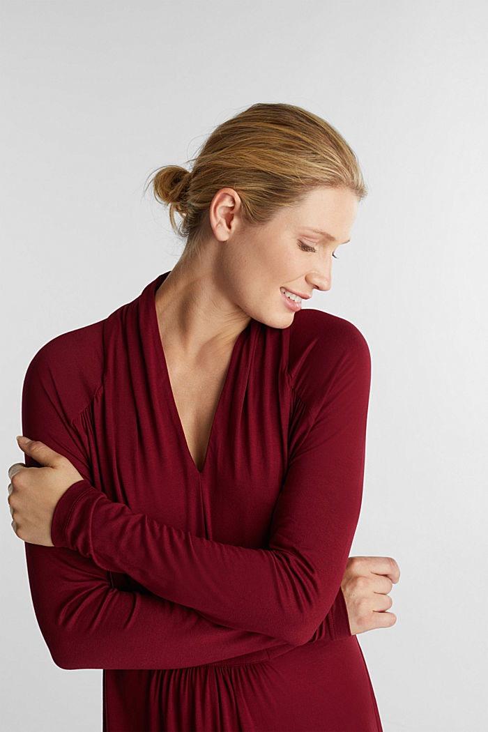 Draped jersey dress, BORDEAUX RED, detail image number 6