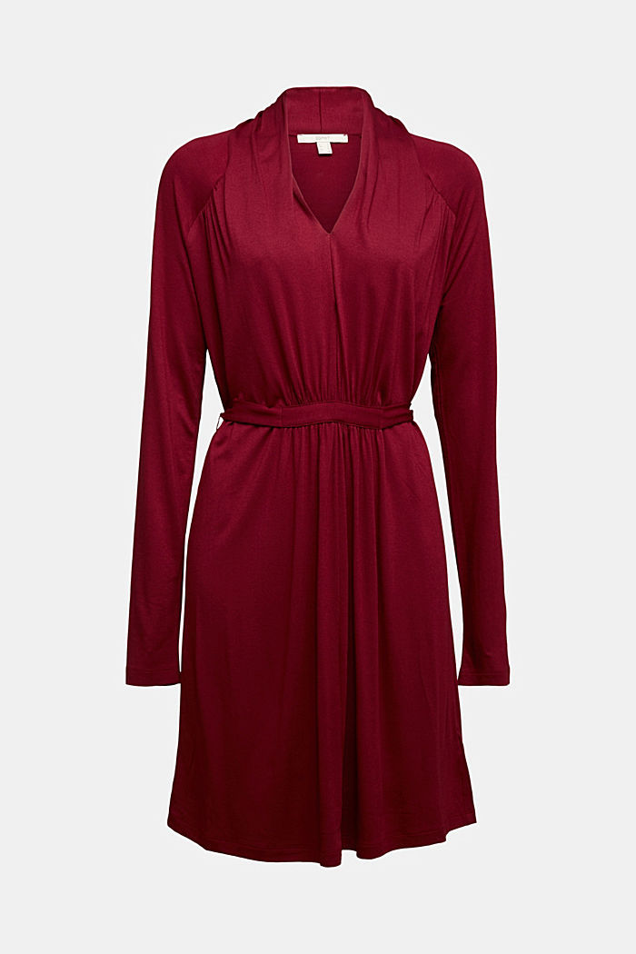 Draped jersey dress, BORDEAUX RED, detail image number 7