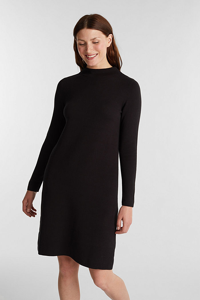 Knitted dress with organic cotton, BLACK, detail image number 0