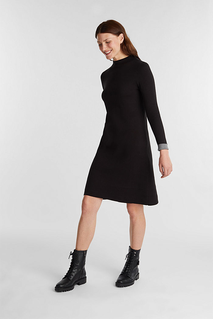 Knitted dress with organic cotton, BLACK, detail image number 1