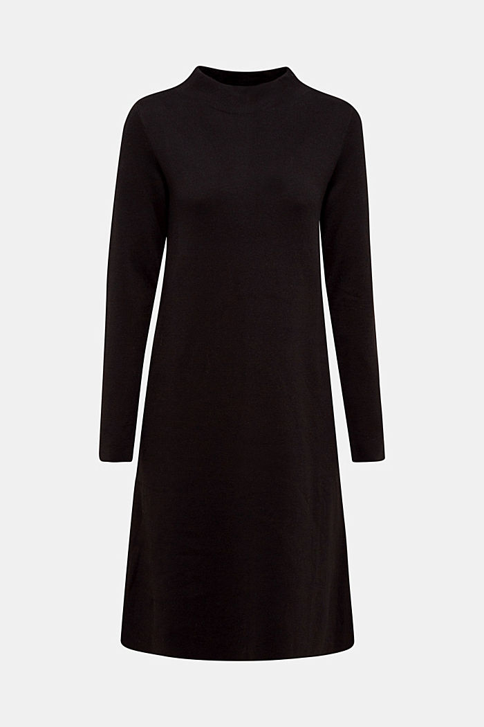 Knitted dress with organic cotton, BLACK, detail image number 6