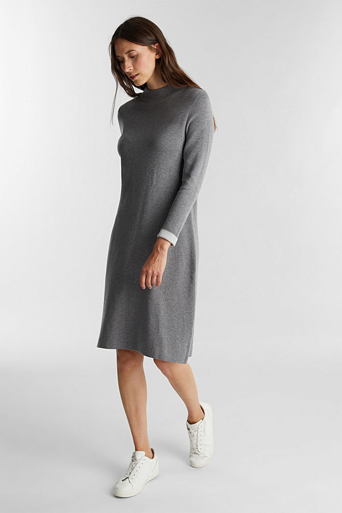 Knitted dress with organic cotton, GUNMETAL, detail image number 0