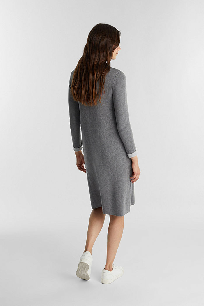 Knitted dress with organic cotton, GUNMETAL, detail image number 2