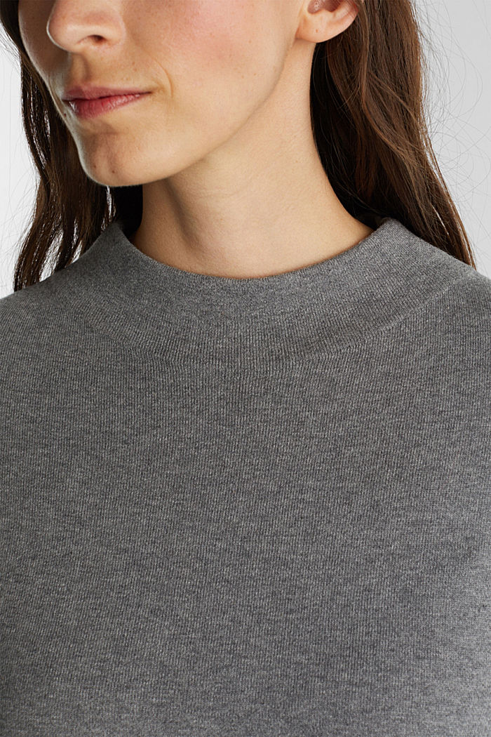 Knitted dress with organic cotton, GUNMETAL, detail image number 3