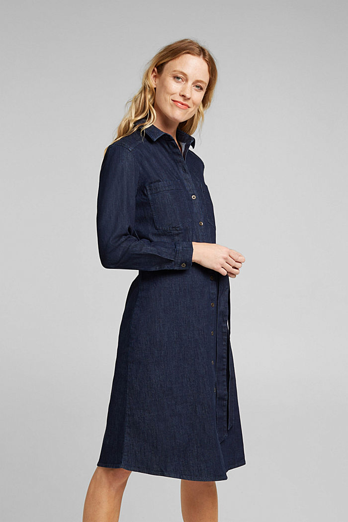Stretch denim shirt dress, BLUE DARK WASHED, detail image number 0
