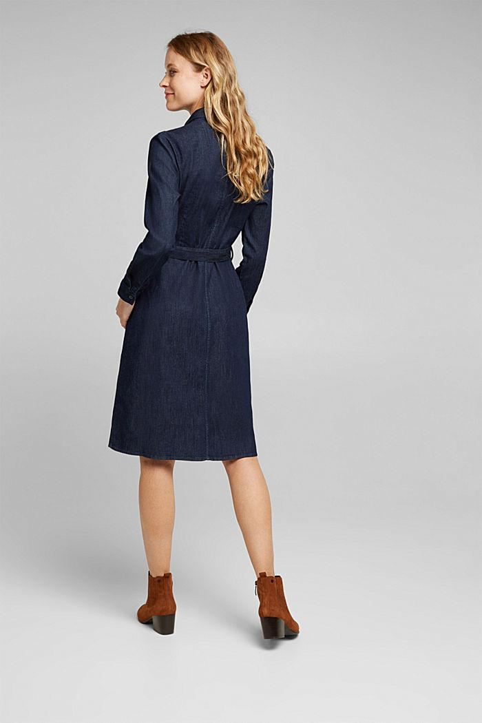 Košilové šaty ze strečového denimu, BLUE DARK WASHED, detail image number 2