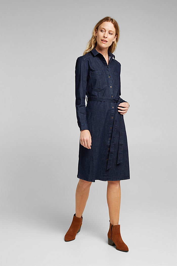 Stretch denim shirt dress, BLUE DARK WASHED, detail image number 1