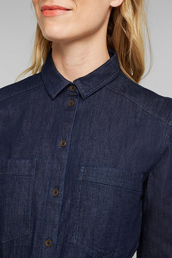 Stretch denim shirt dress, BLUE DARK WASHED, detail image number 3
