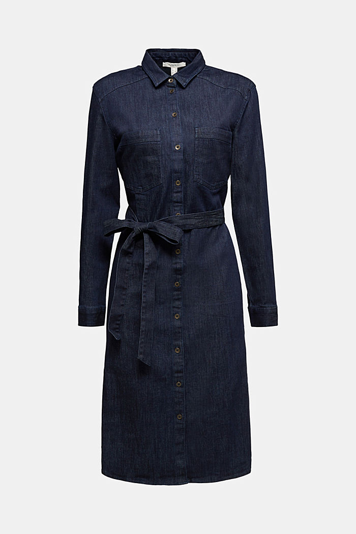 Stretch denim shirt dress, BLUE DARK WASHED, detail image number 6