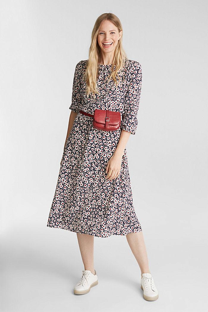 Midi dress made of 100% viscose, NAVY, detail image number 0