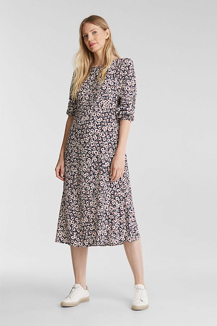 Midi dress made of 100% viscose, NAVY, detail image number 5