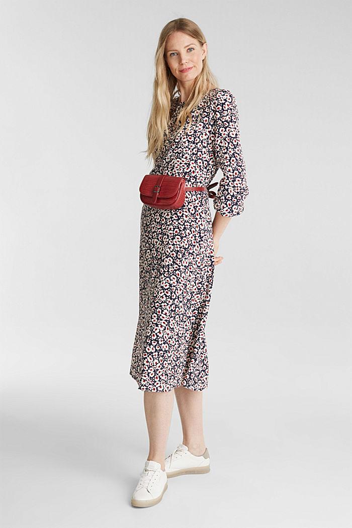 Midi dress made of 100% viscose, NAVY, detail image number 1