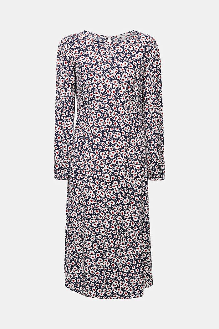 Midi dress made of 100% viscose, NAVY, detail image number 7