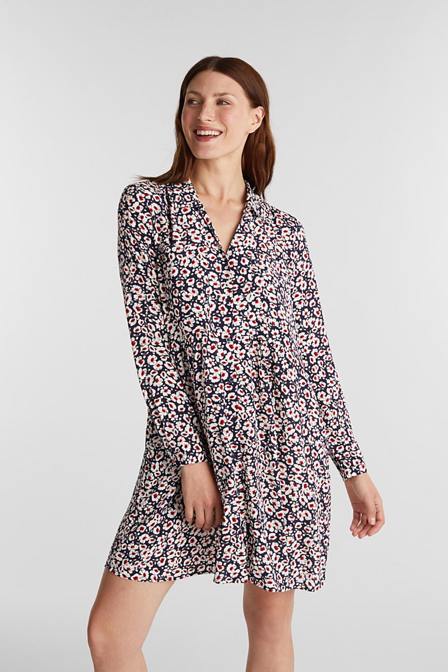 Shirt dress in 100% viscose