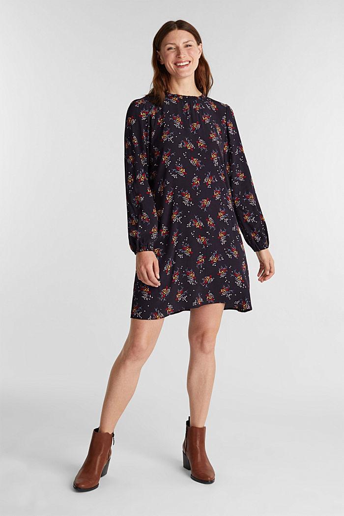 Mini-Kleid mit Blumen-Muster, NAVY, detail image number 1