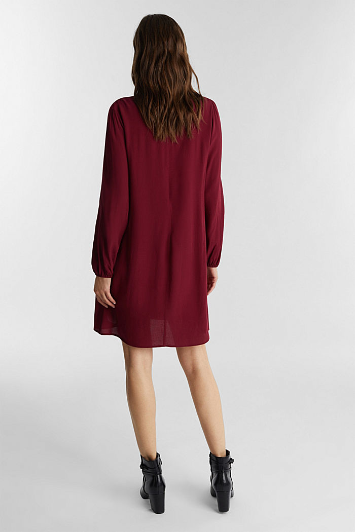 Mini dress made of 100% viscose, BORDEAUX RED, detail image number 2