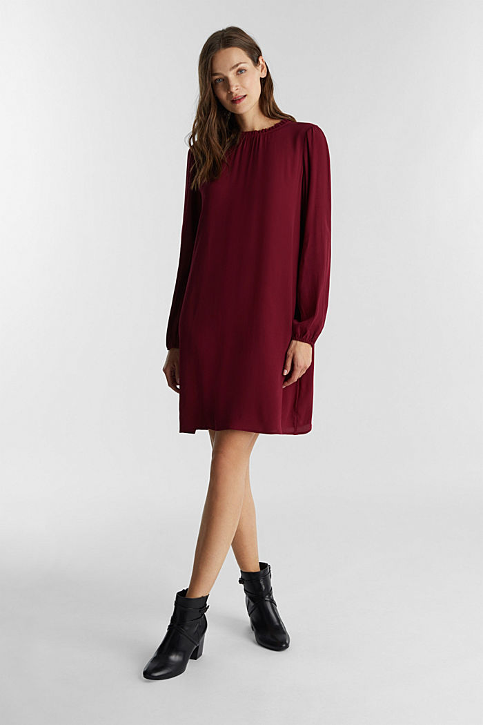 Mini dress made of 100% viscose, BORDEAUX RED, detail image number 1