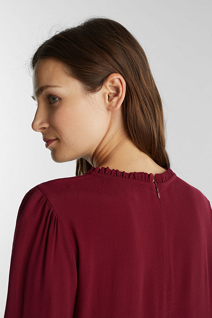Mini dress made of 100% viscose, BORDEAUX RED, detail image number 4
