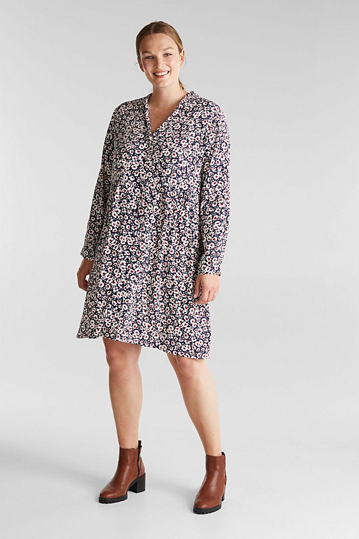 CURVY Kleid aus 100% Viskose, NAVY, detail image number 1