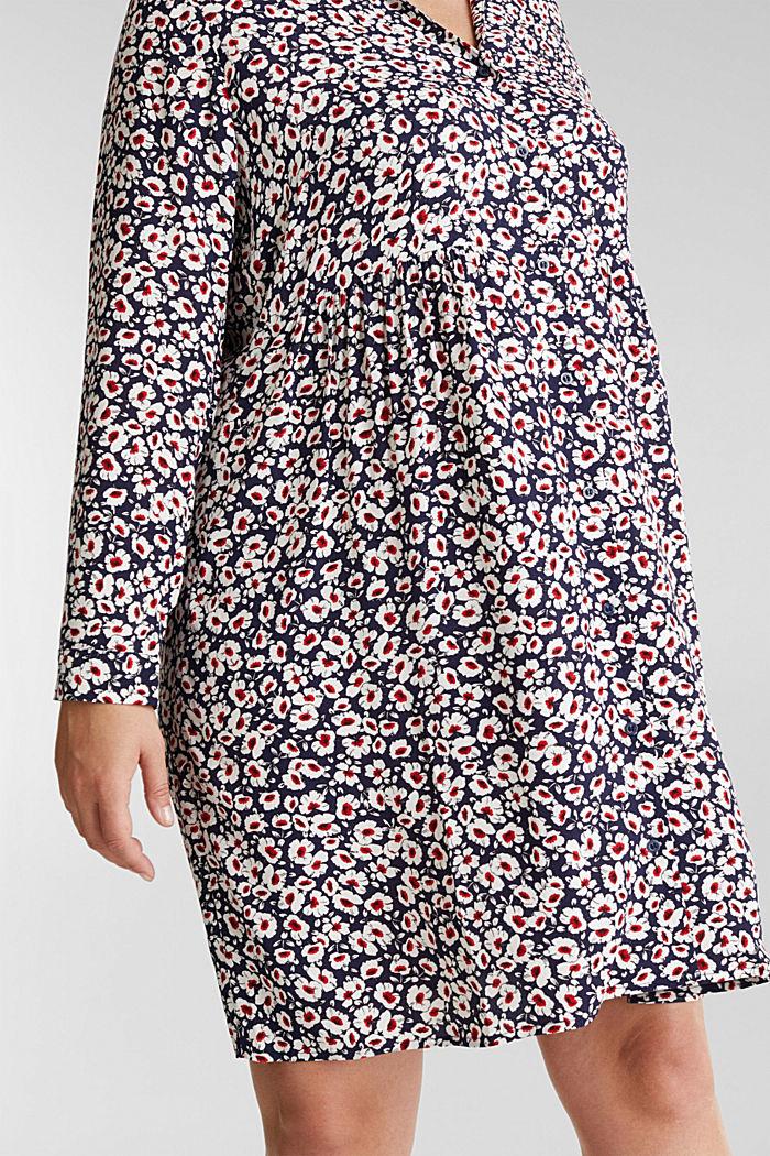 CURVY Kleid aus 100% Viskose, NAVY, detail image number 3